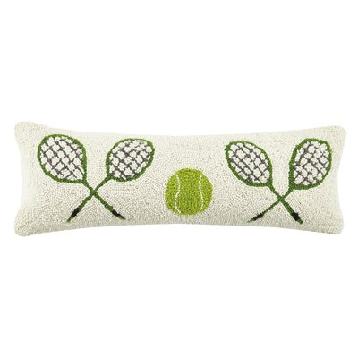Crossed Tennis Racquets Hook Wool Lumbar Pillow