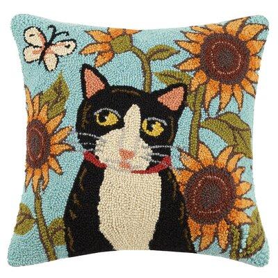 Folk Cat Sunflowers Hook Wool Throw Pillow