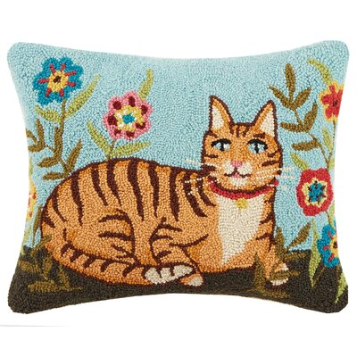Garden Folk Cat Floral Hook Wool Lumbar Pillow