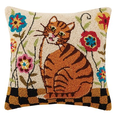 Garden Tabby Folk Cat Hook Wool Throw Pillow