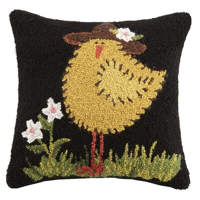 Garden Chick Hook Wool Throw Pillow