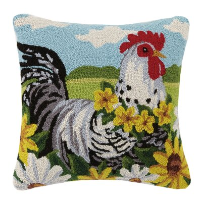 Rooster Farm Animal Hook Wool Throw Pillow