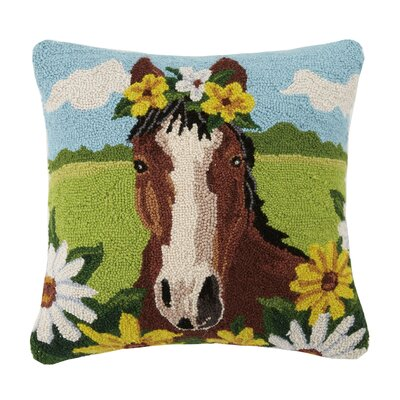 Horse Farm Animal Hook Wool Throw Pillow