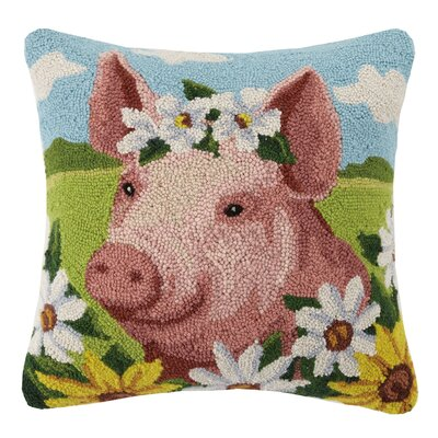 Pig Farm Animal Hook Wool Throw Pillow