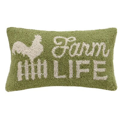 Farm Life Hook Wool Lumbar Pillow
