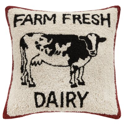 Farm Fresh Dairy Hook Wool Throw Pillow