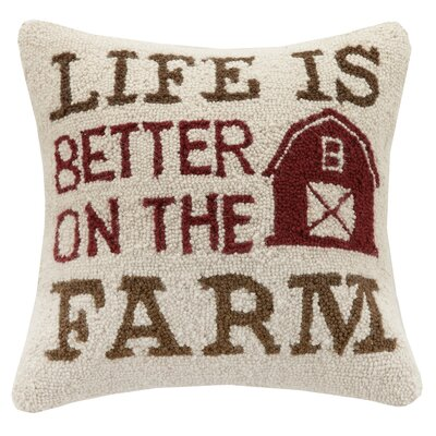 Better on the Farm Hook Wool Throw Pillow