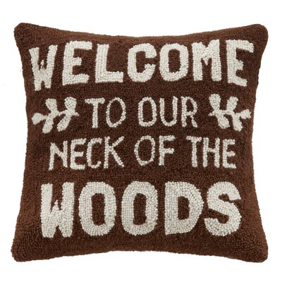 Welcome Woods Hook Wool Throw Pillow