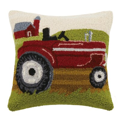 Farm Tractor Hook Wool Throw Pillow