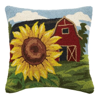 Sunflower Barn Life Hook Wool Throw Pillow