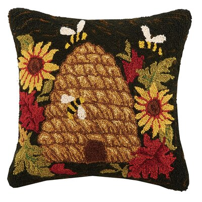 Beehive Sunflower Hook Wool Throw Pillow