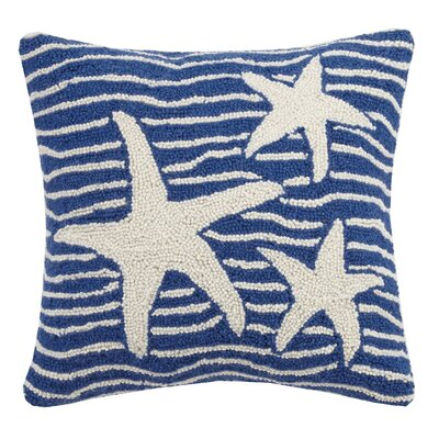 Multi Wave Nautical Starfish Hook Wool Throw Pillow