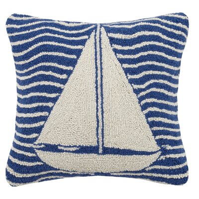Multi Wave Nautical Sailboat Hook Wool Throw Pillow