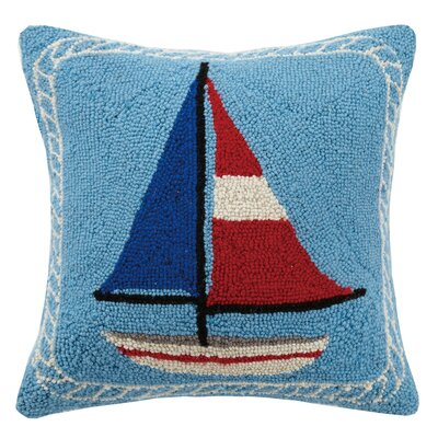 Americana Sailboat Hook Wool Throw Pillow