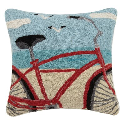 Beach Bike Hook Wool Throw Pillow