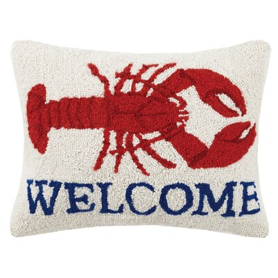 Welcome Lobster Hook Wool Lumbar Pillow