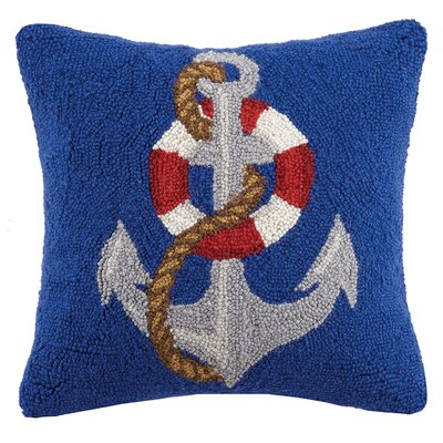 Life Saver Anchor Hook Wool Throw Pillow