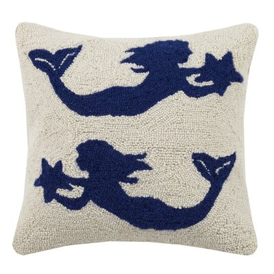 Mermaid Duo Hook Wool Throw Pillow