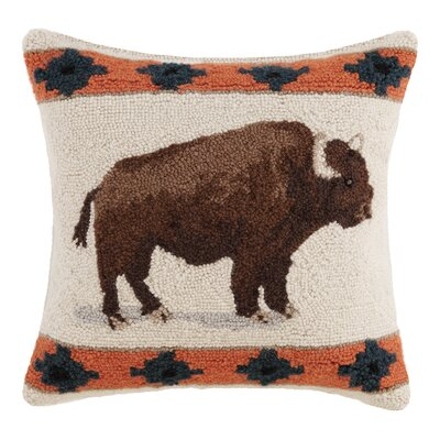 Roaming Buffalo Wool Throw Pillow