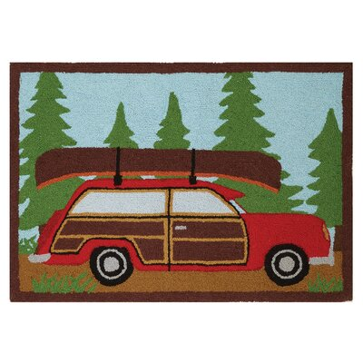 Woody Car Canoe Hand-Woven Brown/Red/Green Area Rug