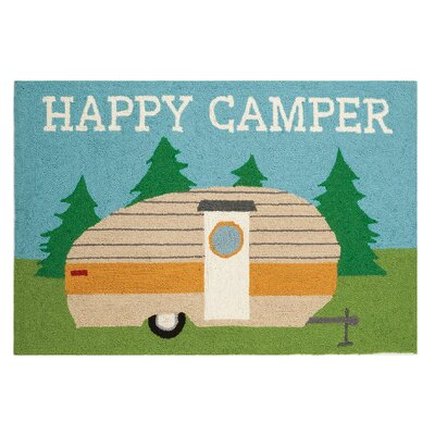 Happy Camper Hand-Woven Teal/Green Area Rug