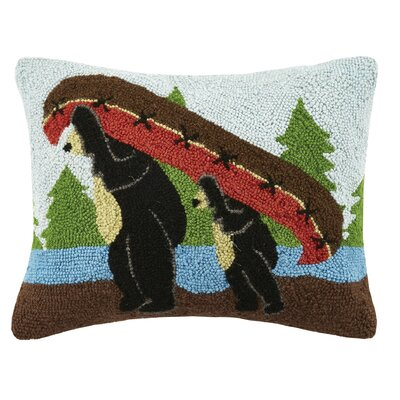 Bear Canoe Wool Lumbar Pillow