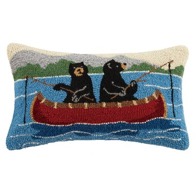 Bear Fishing Wool Lumbar Pillow