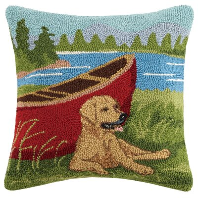 Lab Canoe Wool Throw Pillow