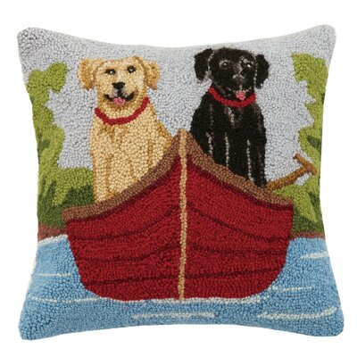 Lab on Canoe Wool Throw Pillow