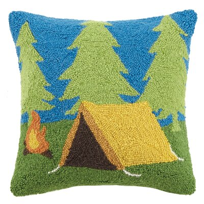 Camping Tent Wool Throw Pillow