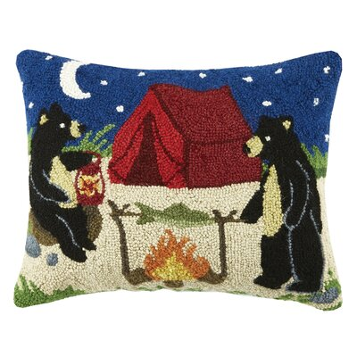 Camping Bear Wool Lumbar Pillow