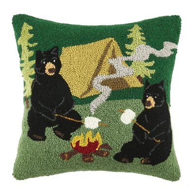 Campfire Bear Wool Throw Pillow