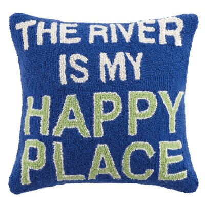 River Is My Happy Place Wool Throw Pillow
