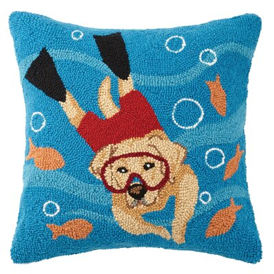 Snorkeling Dog Wool Throw Pillow
