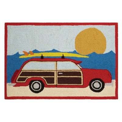 Wagon at the Beach Hand-Woven Area Rug
