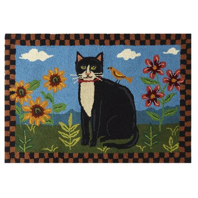 Folk Cat in Garden Hand-Woven Area Rugs