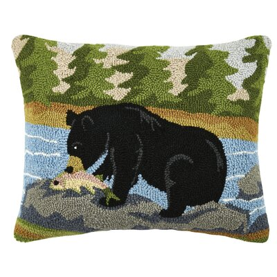 Bear Hunting Wool Lumbar Pillow