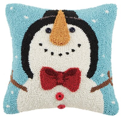 3D Snowman Hook Throw Pillow