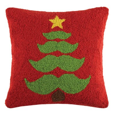 Tree Mustachio Holiday Hook Wool Throw Pillow