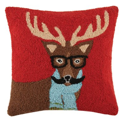 Reindeer Mustachio Holiday Hook Wool Throw Pillow