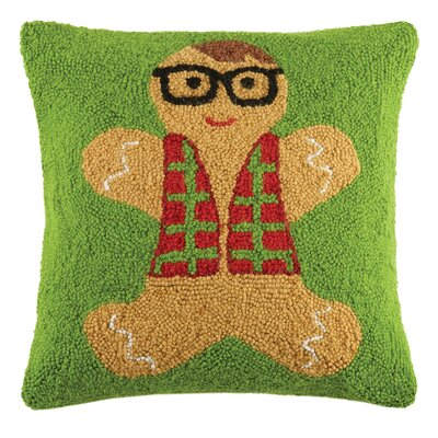 Gingerbread Man Mustachio Holiday Hook Wool Throw Pillow