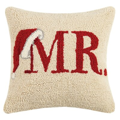 Mr. Santa Hat Hook Wool Throw Pillow