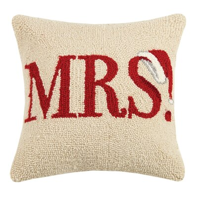 Mrs. Santa Hat Hook Wool Throw Pillow