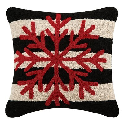 Snowflake Holiday Hook Wool Throw Pillow