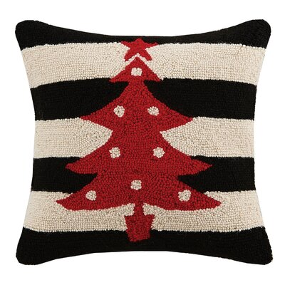 Tree Holiday Hook Wool Throw Pillow