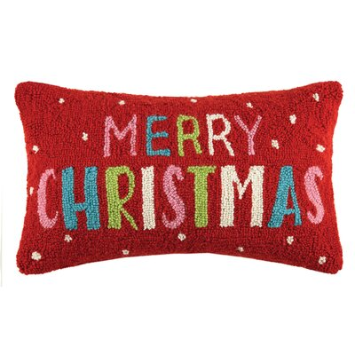 Merry Christmas Hook Wool Lumbar Pillow