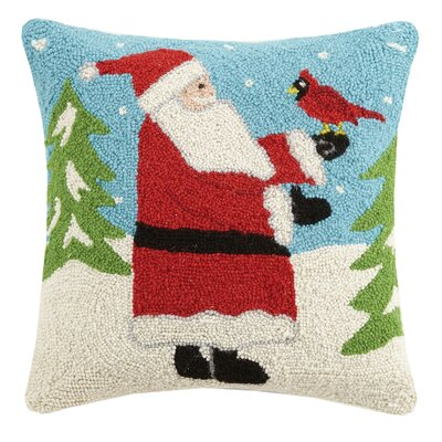 Santa and Cardinal Hook Wool Throw Pillow
