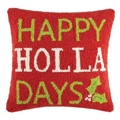 Happy Holla Days Hook Wool Throw Pillow