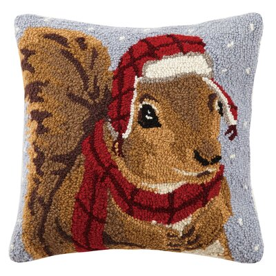 Squirrel Hook Wool Throw Pillow