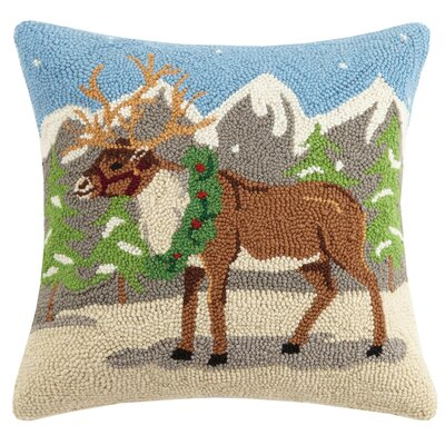 Reindeer Wreath Hook Wool Throw Pillow